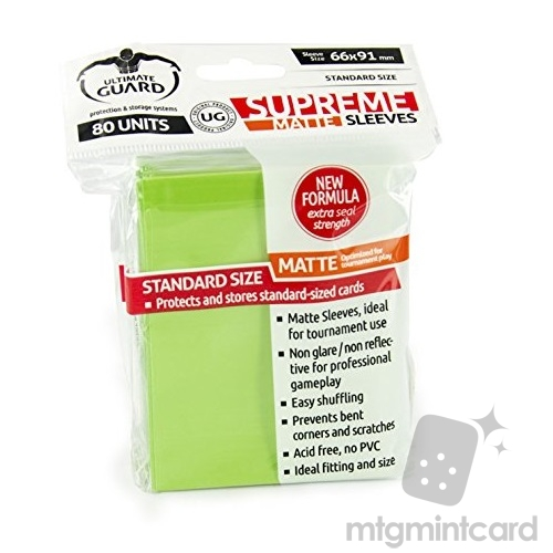 Ultimate Guard 80 - Standard Supreme Deck Protector Sleeves - Matte Light Green - UGD010183