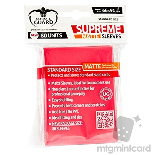 Ultimate Guard 80 - Standard Supreme Deck Protector Sleeves - Matte Red - UGD010016