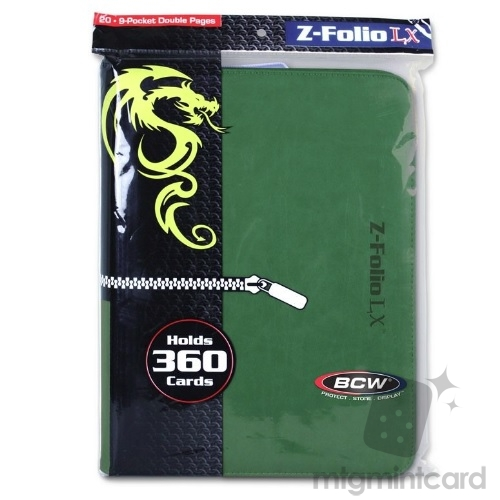 BCW - LX Album Z-Folio 9-Pocket - Green - 1-ZF9LX-GRN
