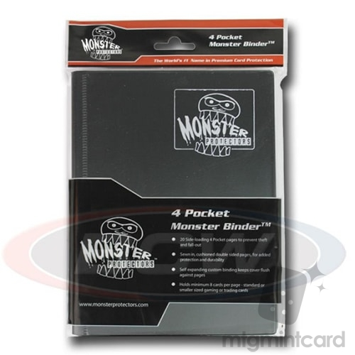 BCW - Monster Protectors Binder 4-Pocket - Matte Black - MB-4P-MBK