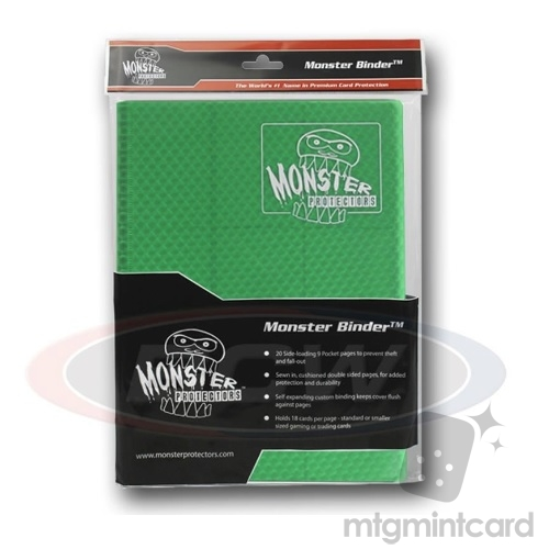 BCW - Monster Protectors Binder 9-Pocket - Holofoil Green - MB-9P-HGR
