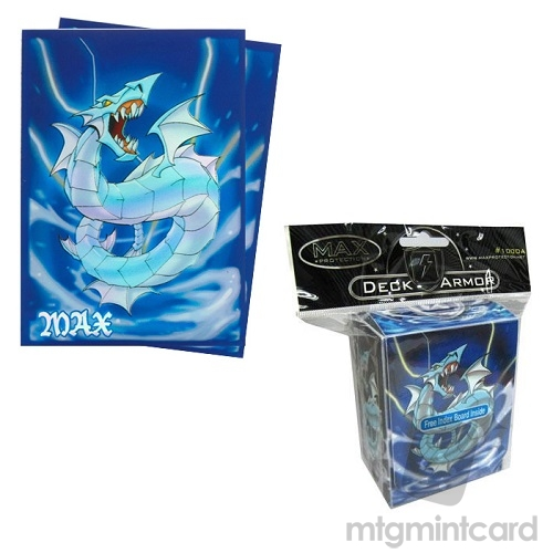 Max Protection Deck Box & Standard Size Protector Sleeves Package - Aquatic Dragon