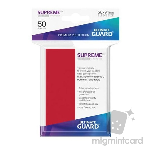 Ultimate Guard 50 - Supreme UX Sleeves Standard Size - Red - UGD010802